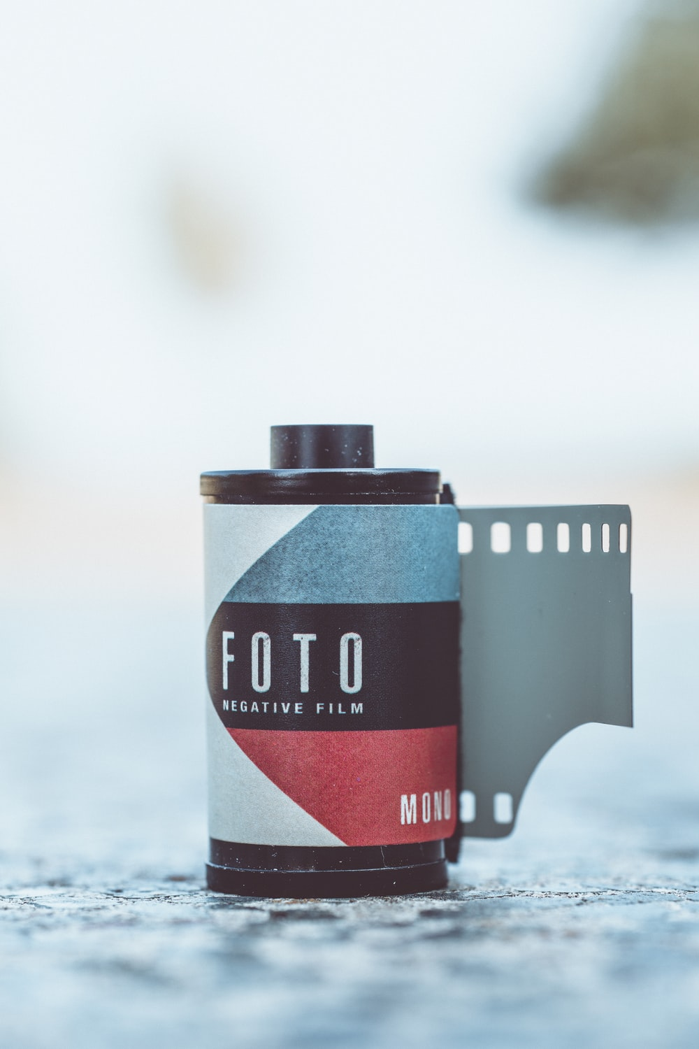 Foto film on gray surface