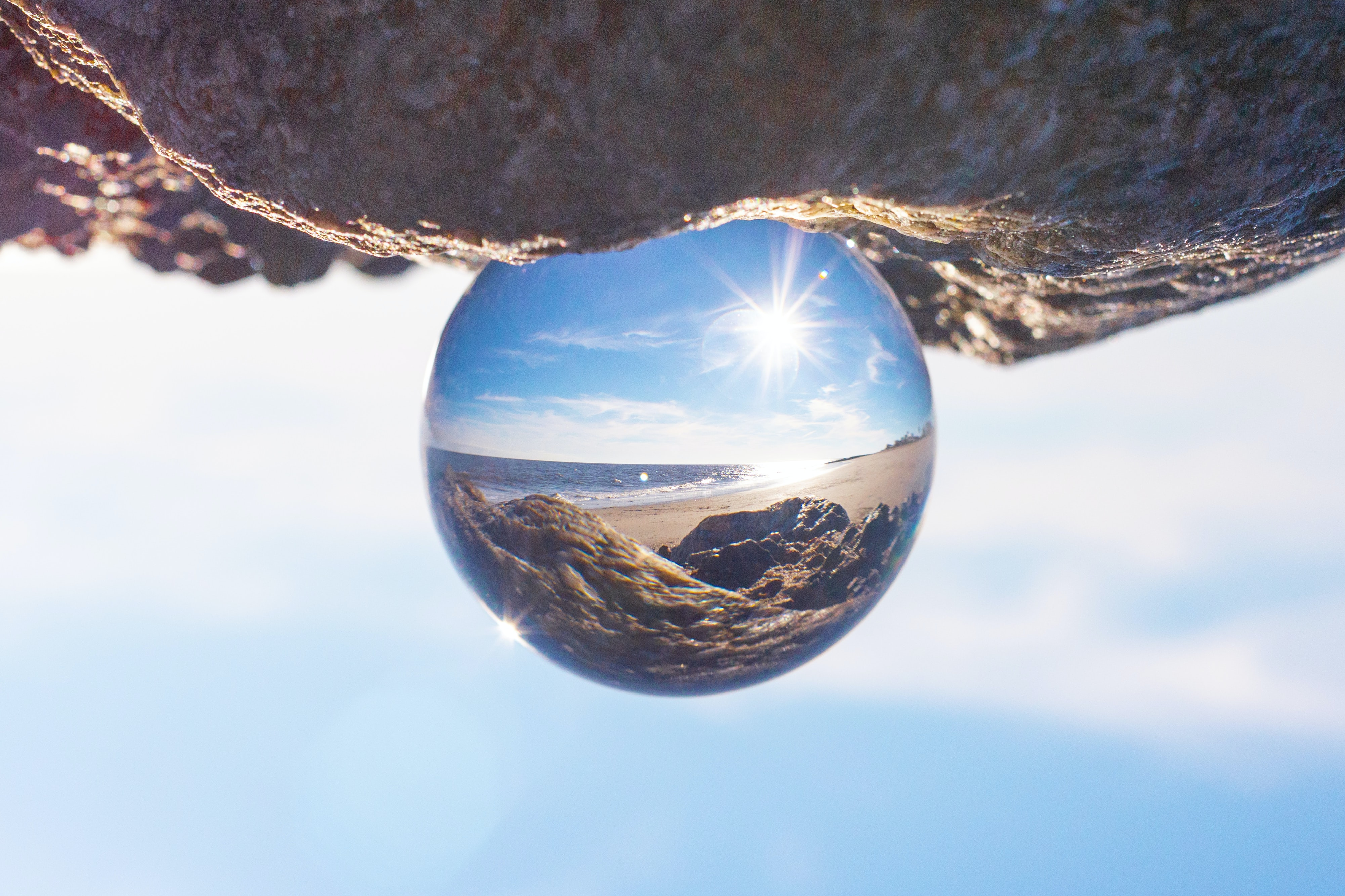 crystal ball on rock formation