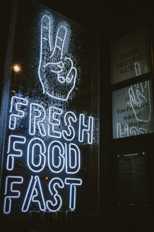 fresh food fast neon light signage