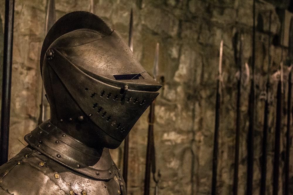 gray metal armour