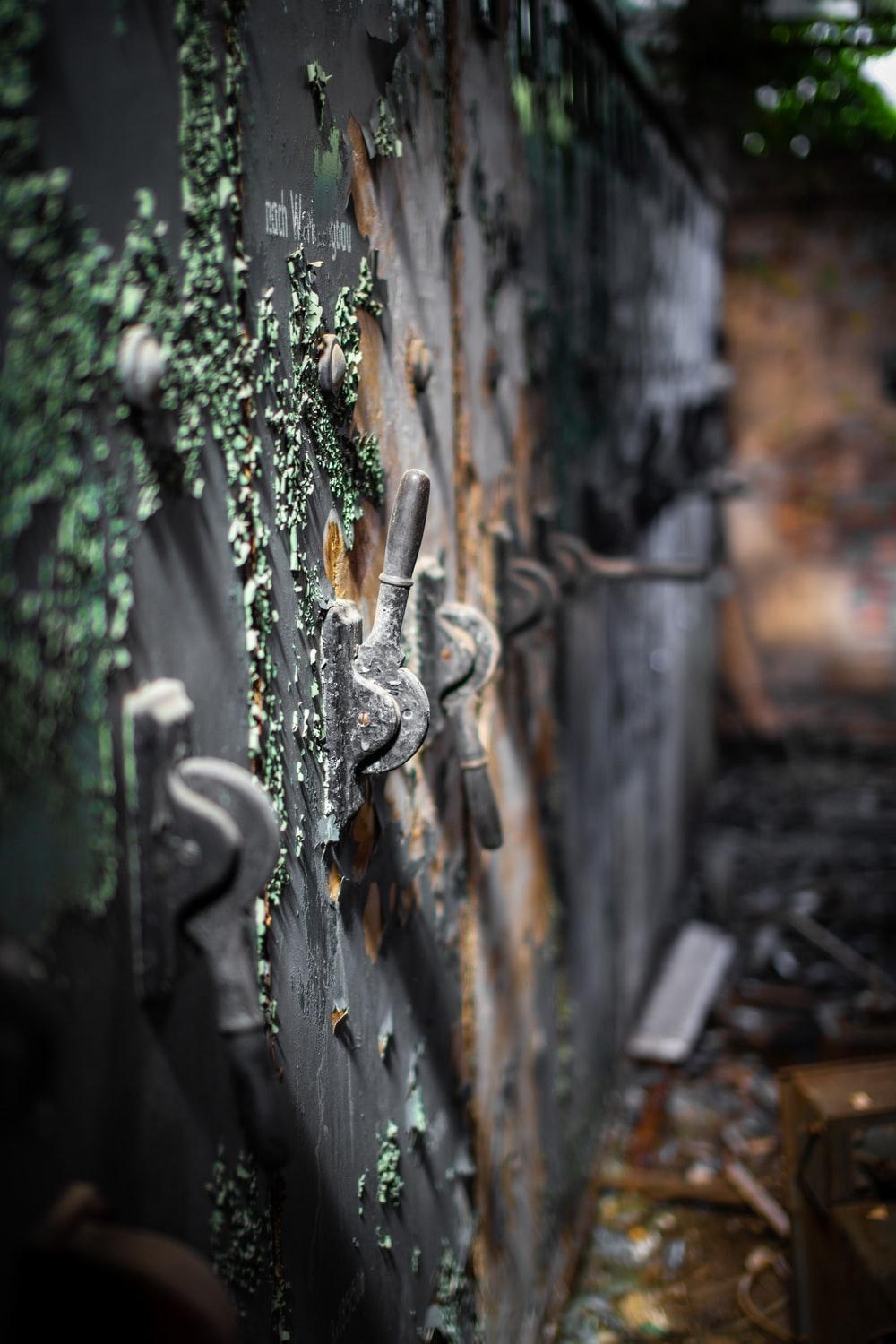 selective focus photography of gray metal locker
