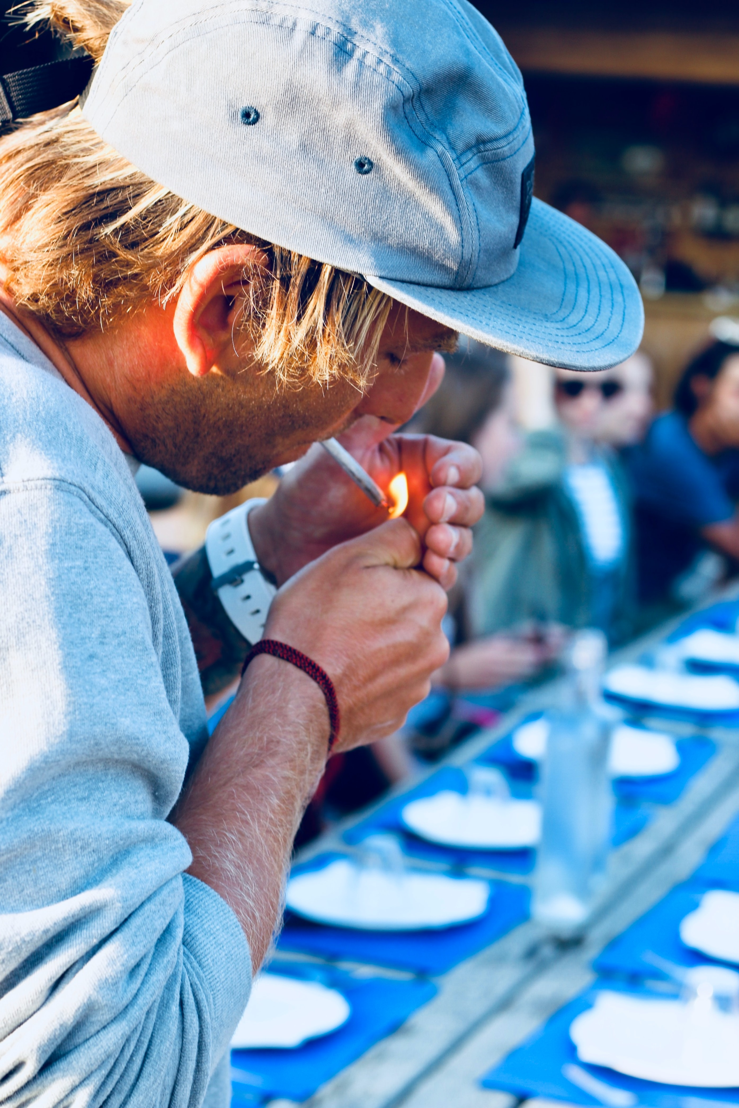 men's blue and white polo shirt