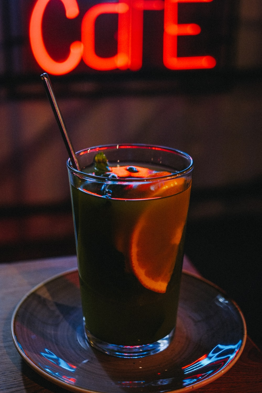 filled drink with lemon