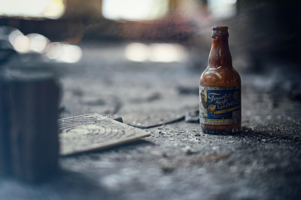 used brown glass beer bottle