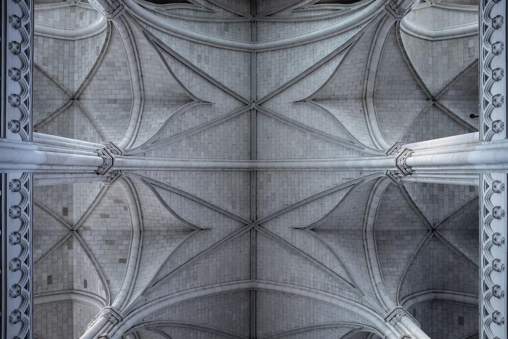 indoor view of grey concrete roof