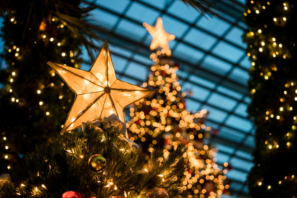 close-up photography of lighted yellow star Christmas tree topper