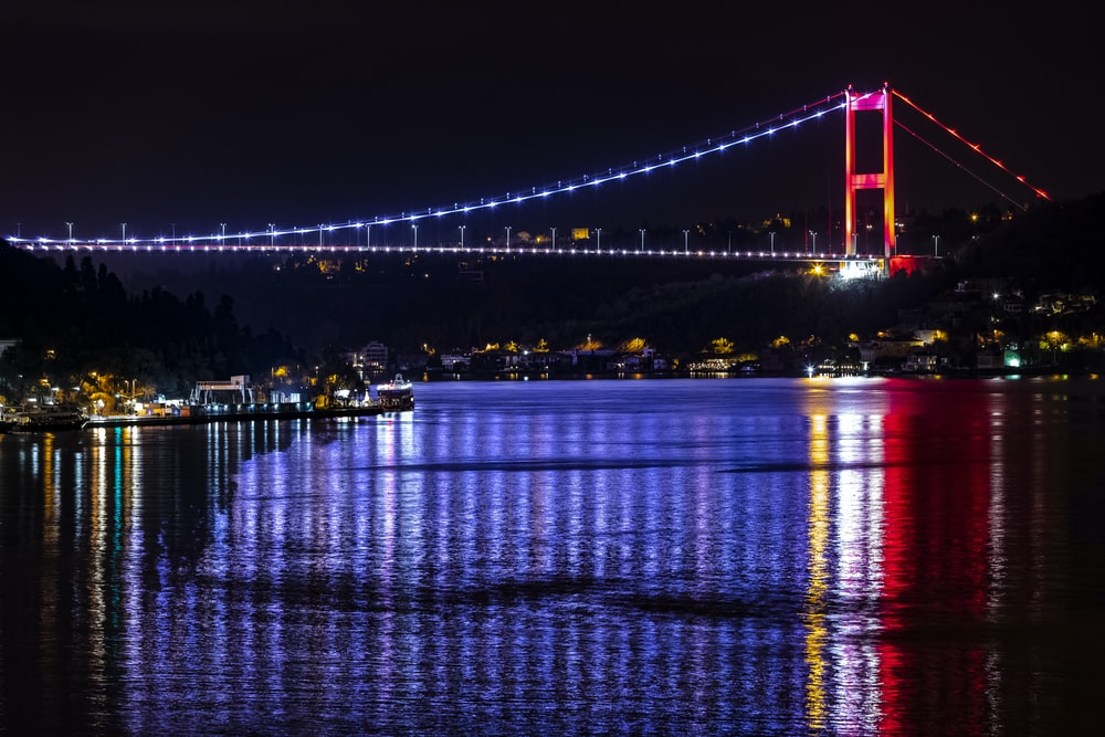 red and blue lighted bridge during night