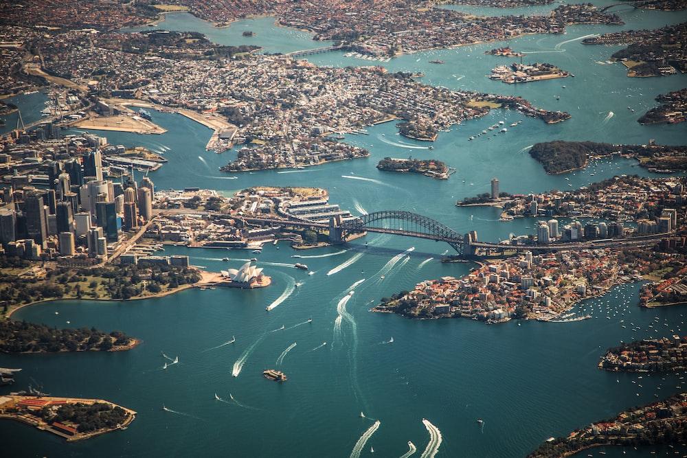 aerial photography of bridge