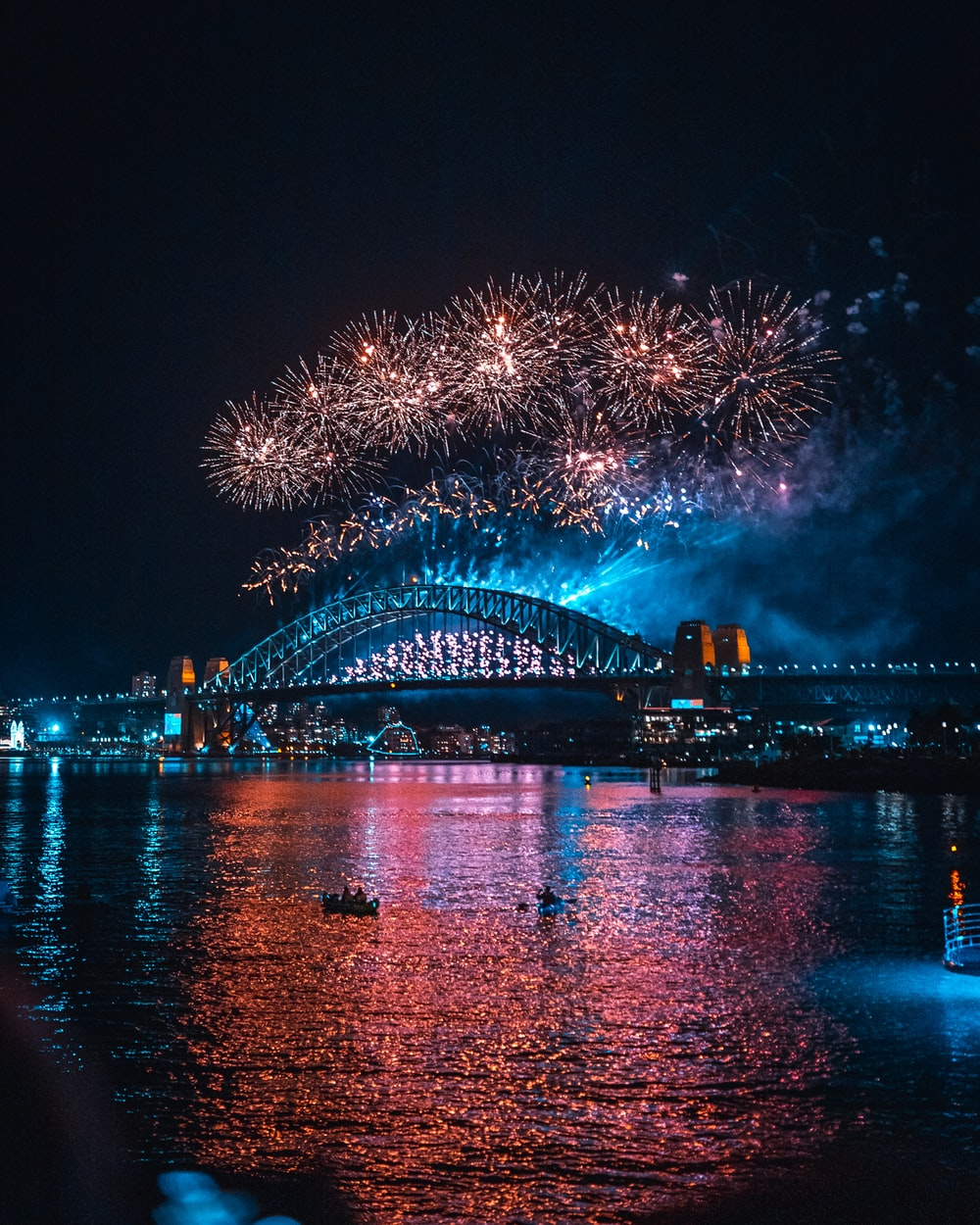 fireworks display near bridge