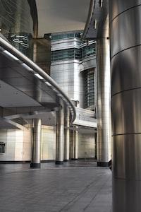 silver columns in building