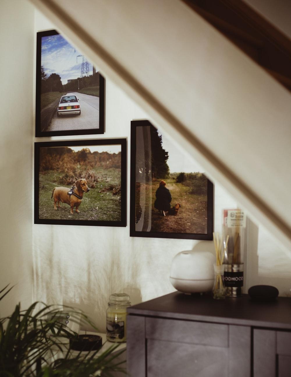 three black framed photos hung on wall