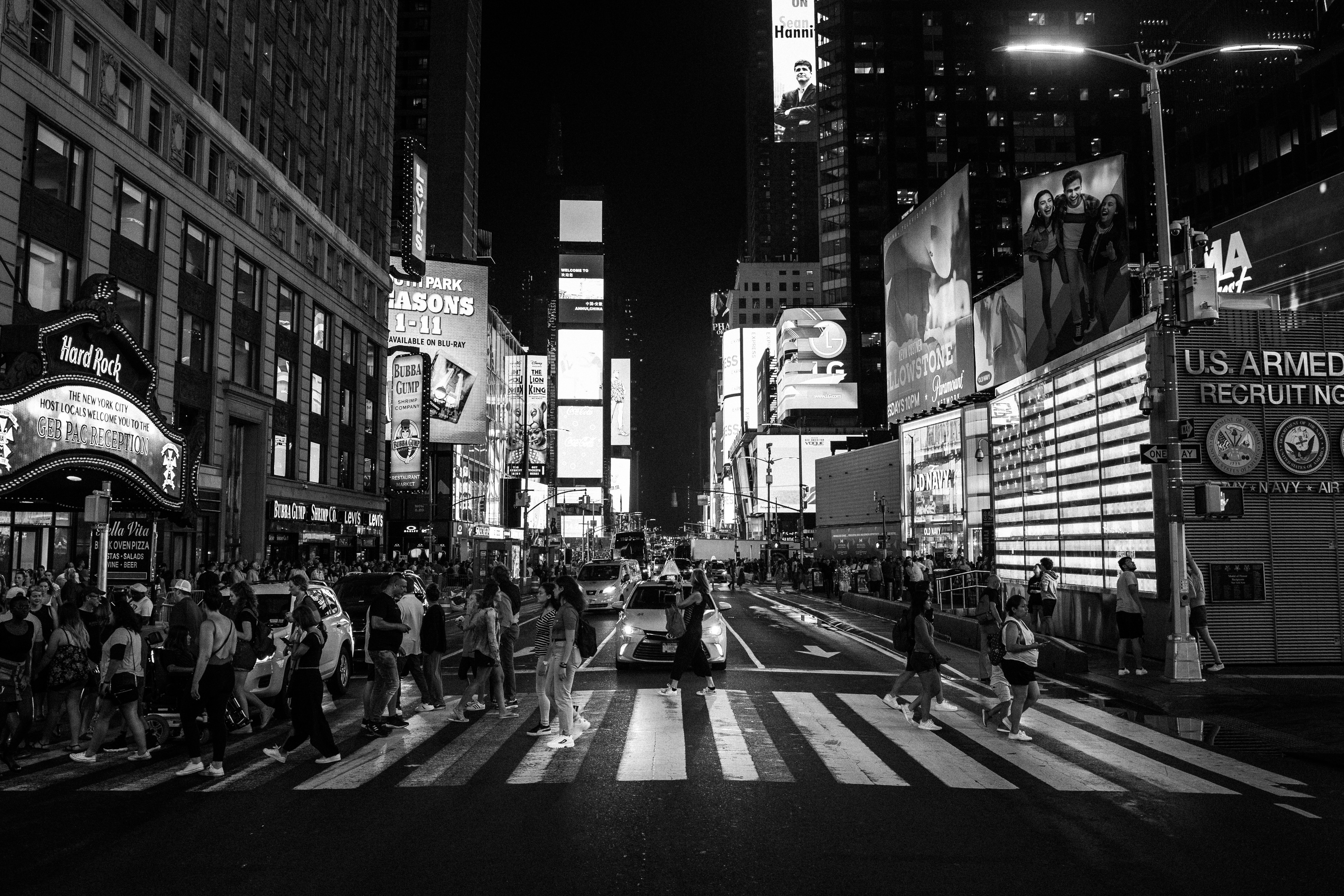grayscale photography of Timesquare