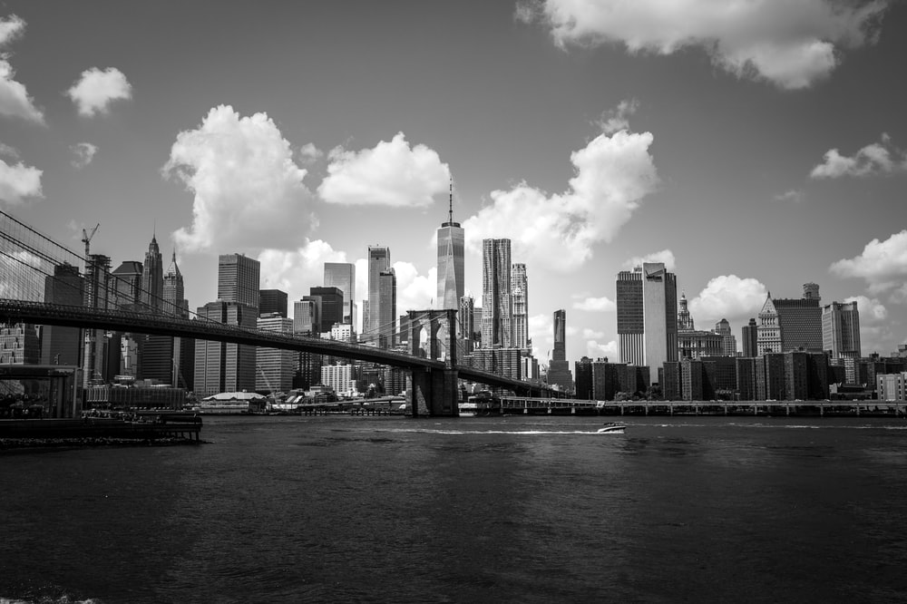 grayscale photo of city scape