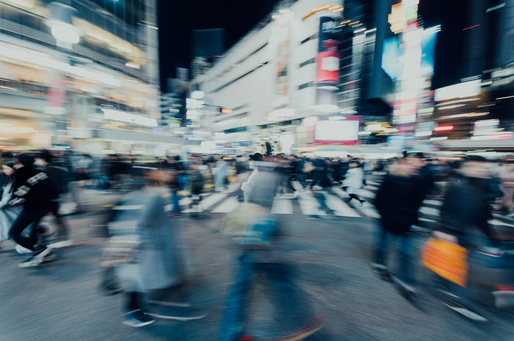 people on Shibuya Crossing at night