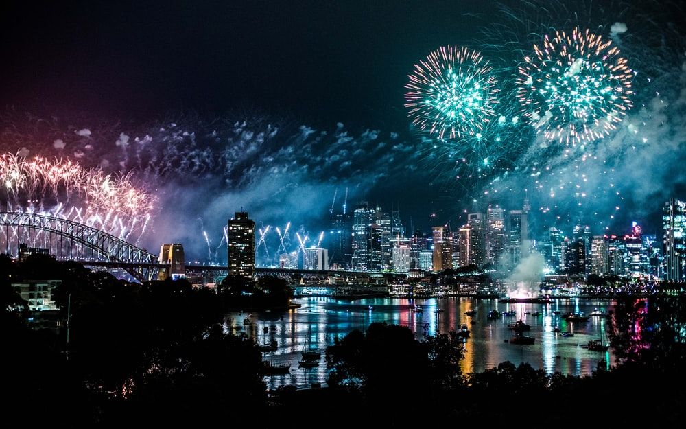 bird's-eye view photography of fireworks above city