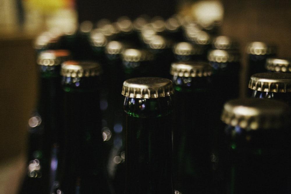 close-up photo of bottles with lids