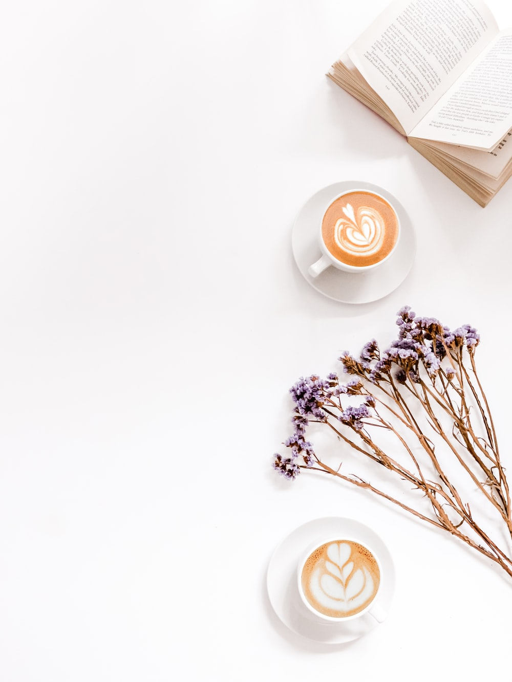 book beside coffee latte
