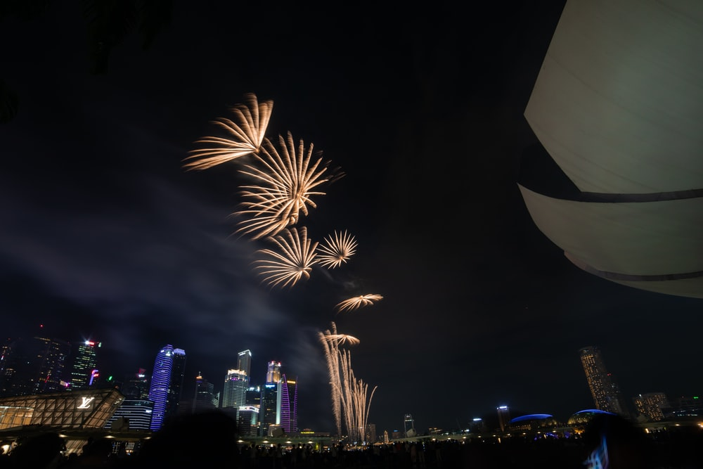 wide angle photography of fireworks