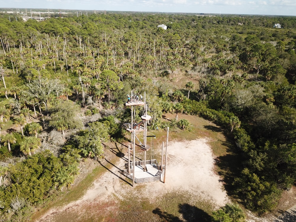 aerial view photography of white tower between forest