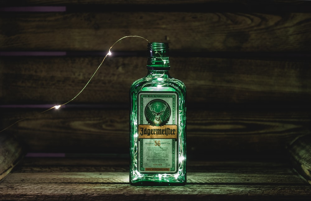 string lights in Jagermeister glass bottle