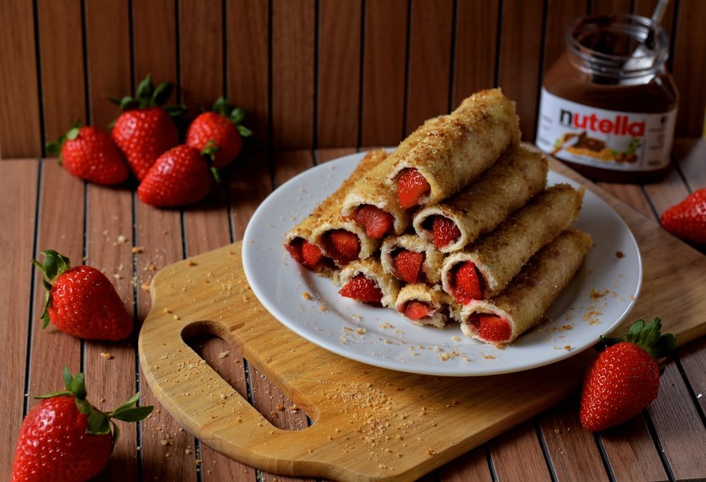 fried food with strawberry