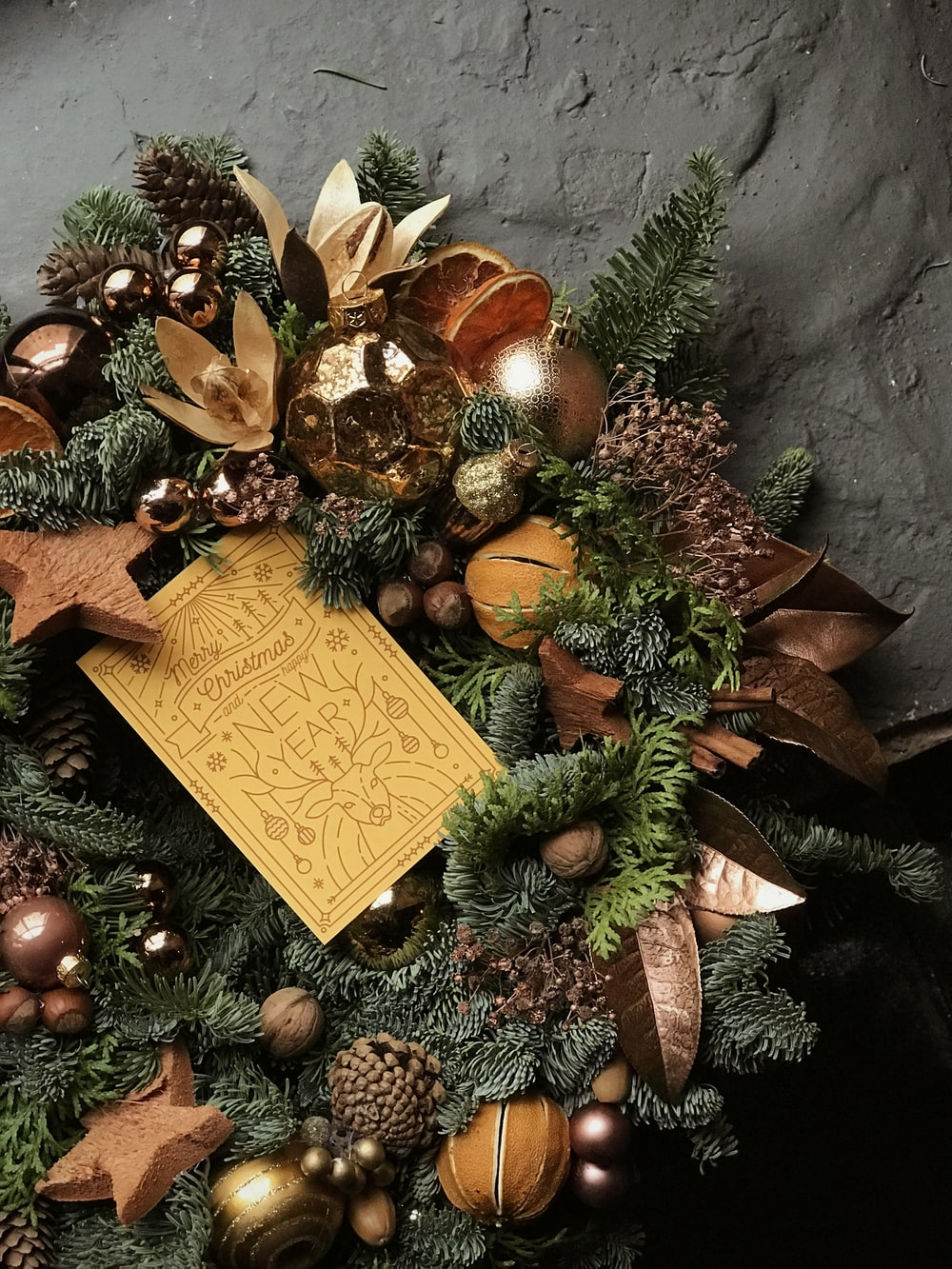 gray and brown wreath