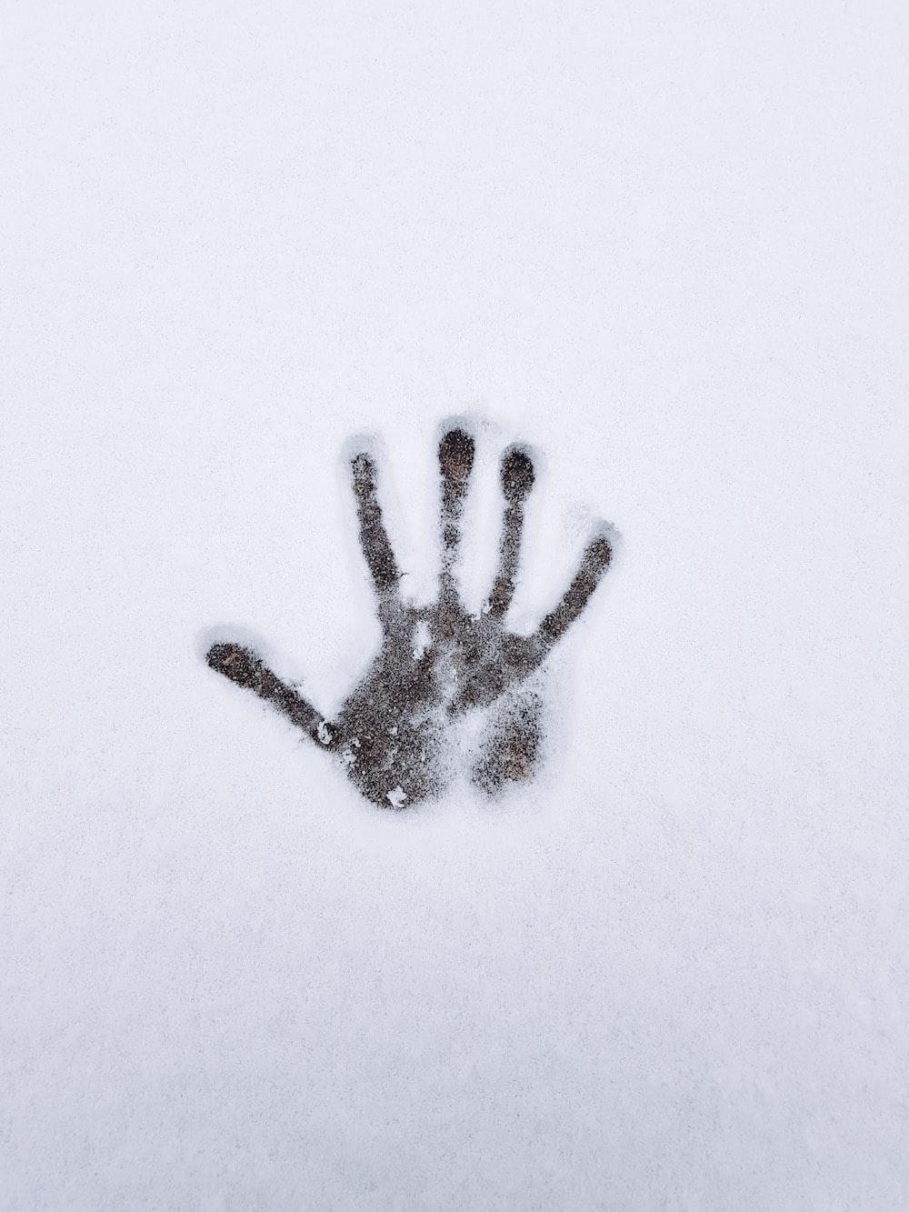 human palm on snow