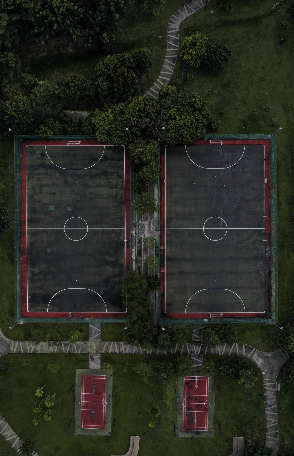 aerial photography of basketball courts