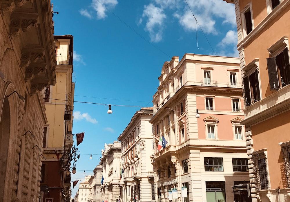 brown building across blue sky