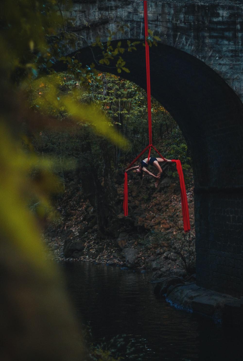 red lines on bridge
