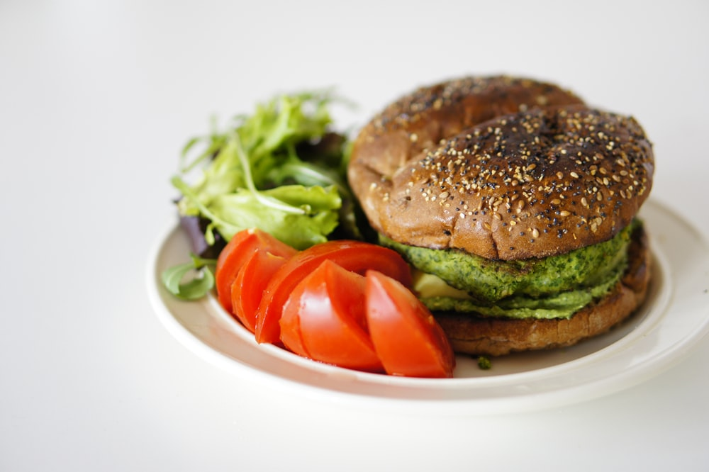 plated burger on white surface