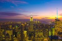 New York city during golden hour