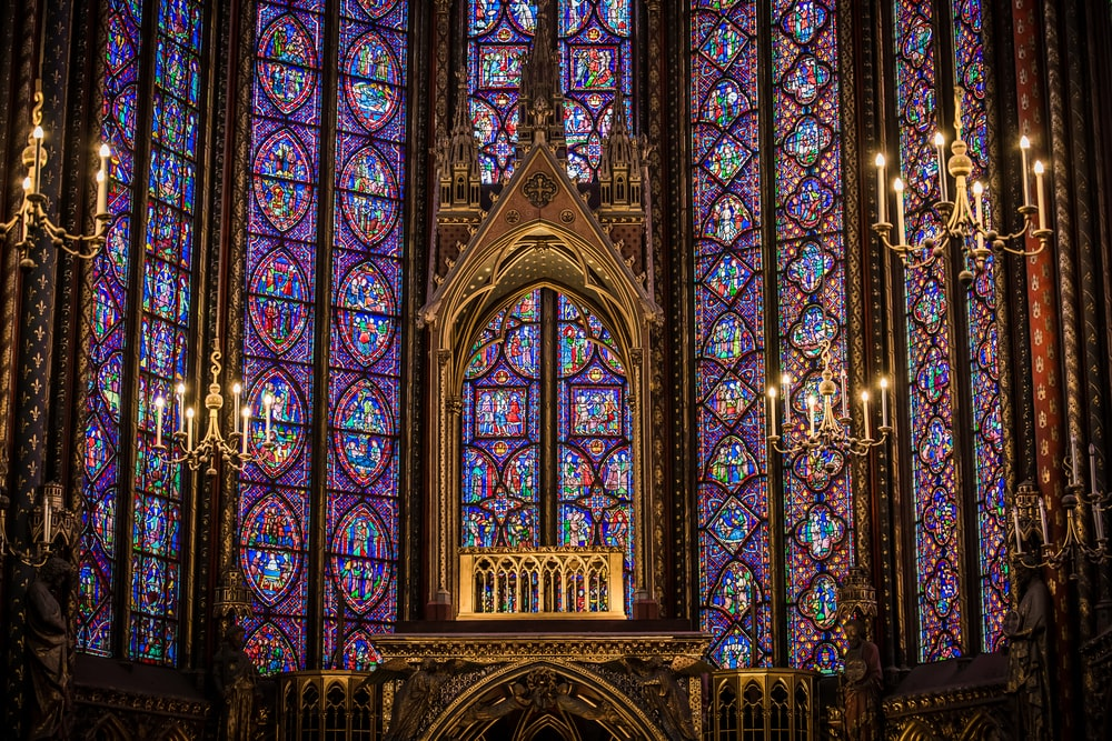 mosaic glass wall of cathedral