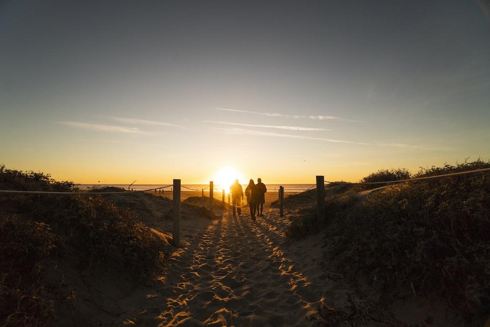 three person walking on sand dunes near beach