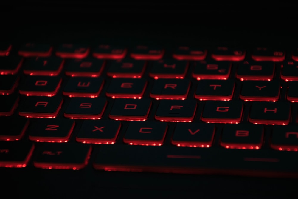 red and black gaming keyboard