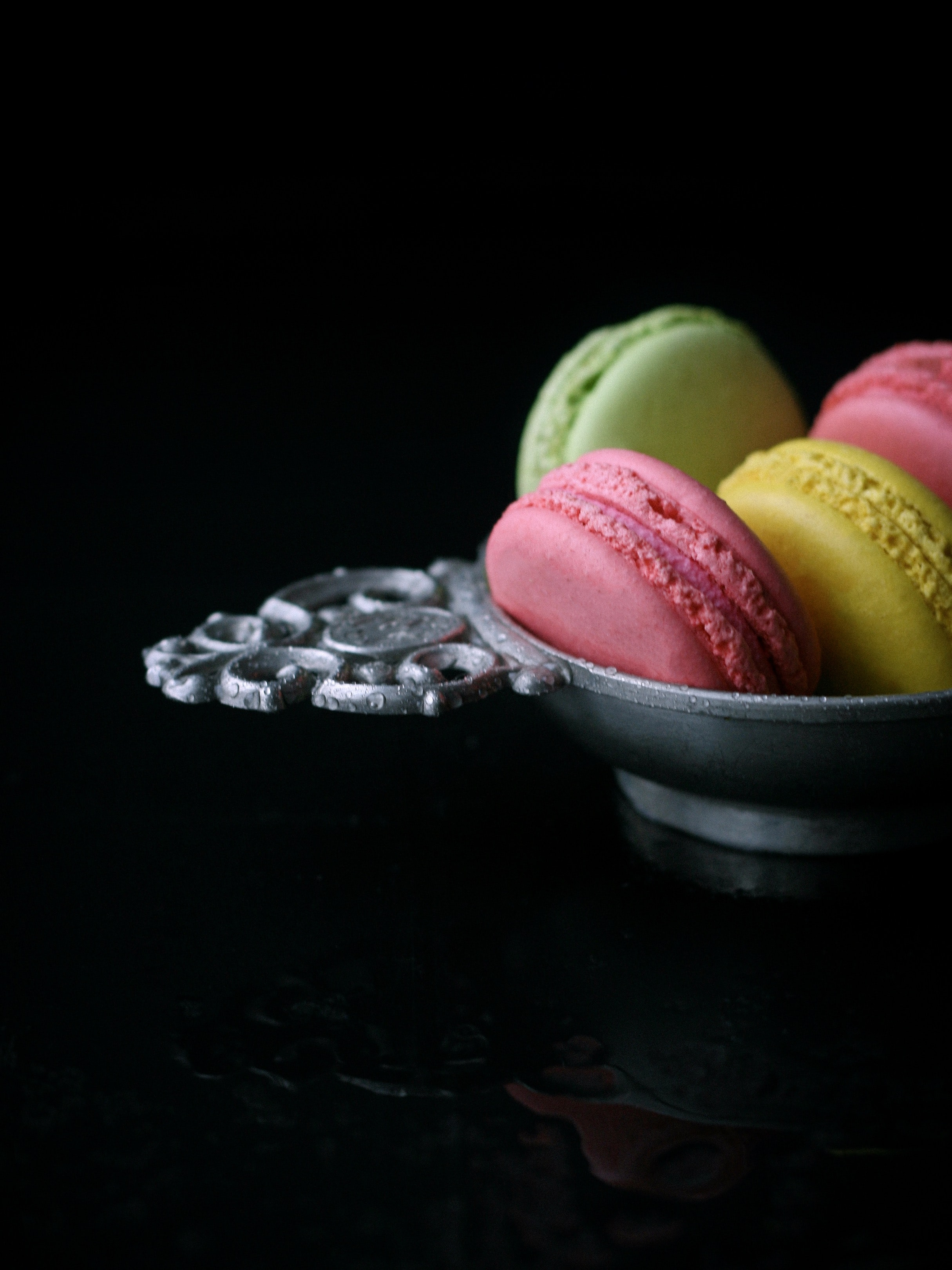 macaroons on gray plate