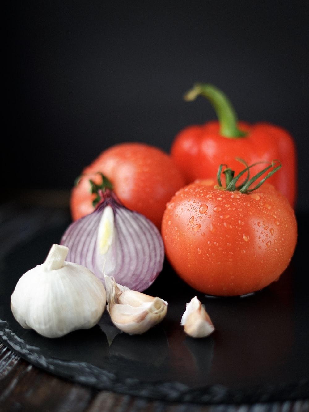 tomatoes, onion, and garlic