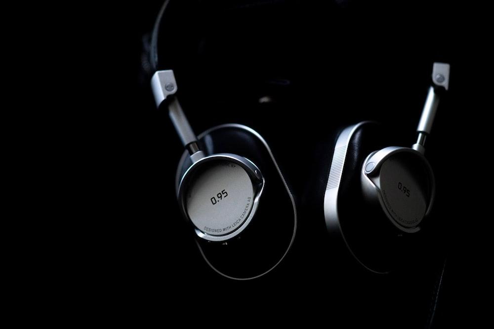 gray and black headphones