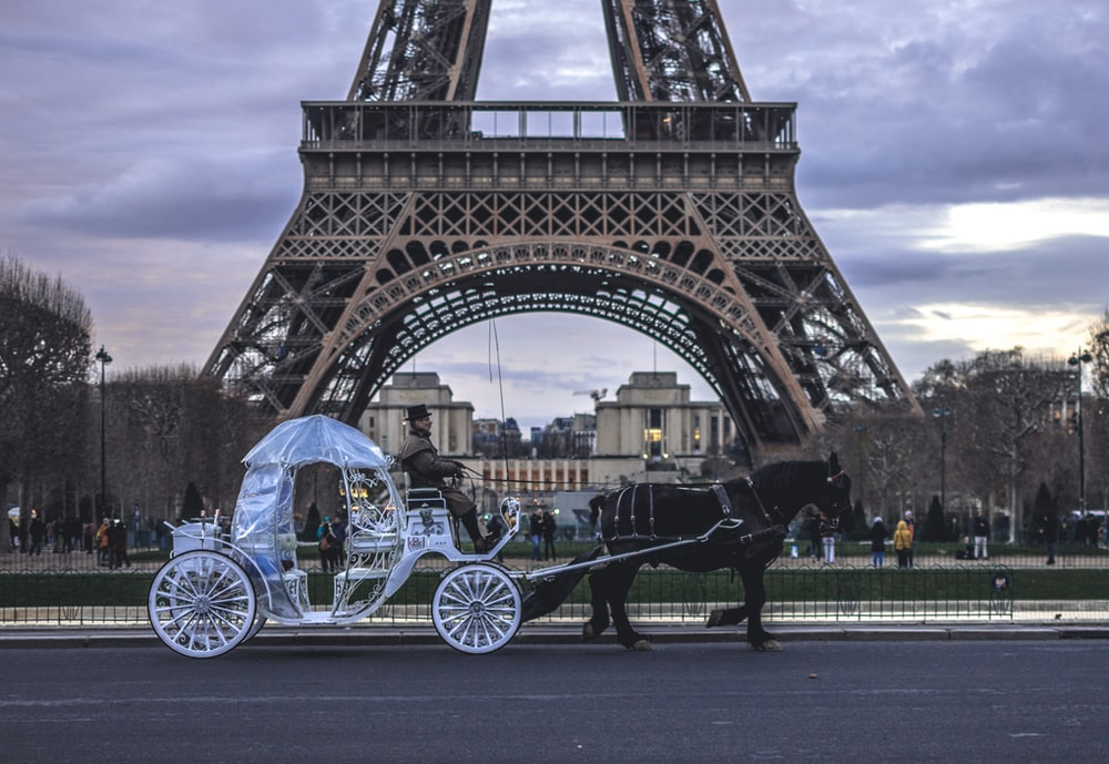 carriage in front of Eiffel Tower