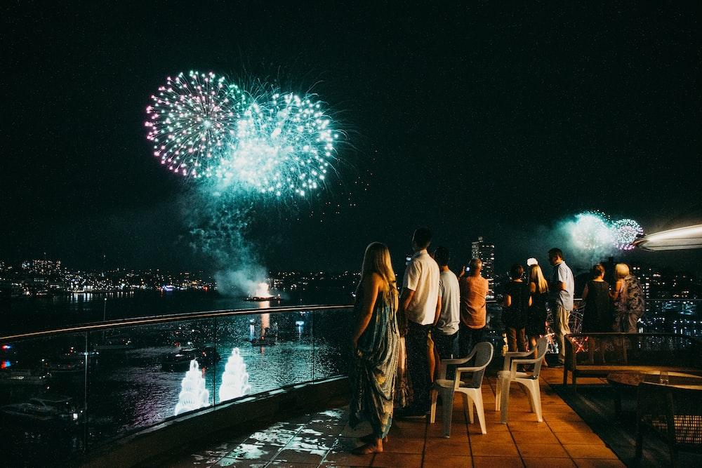 people watching fireworks display