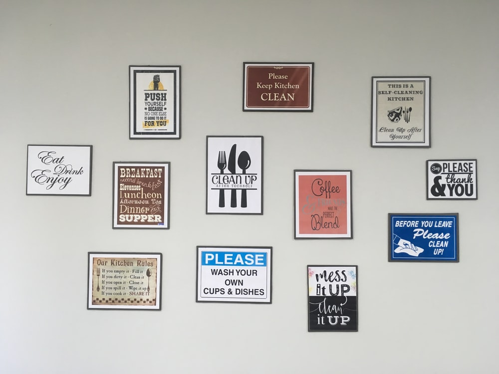 assorted quoted wall decors