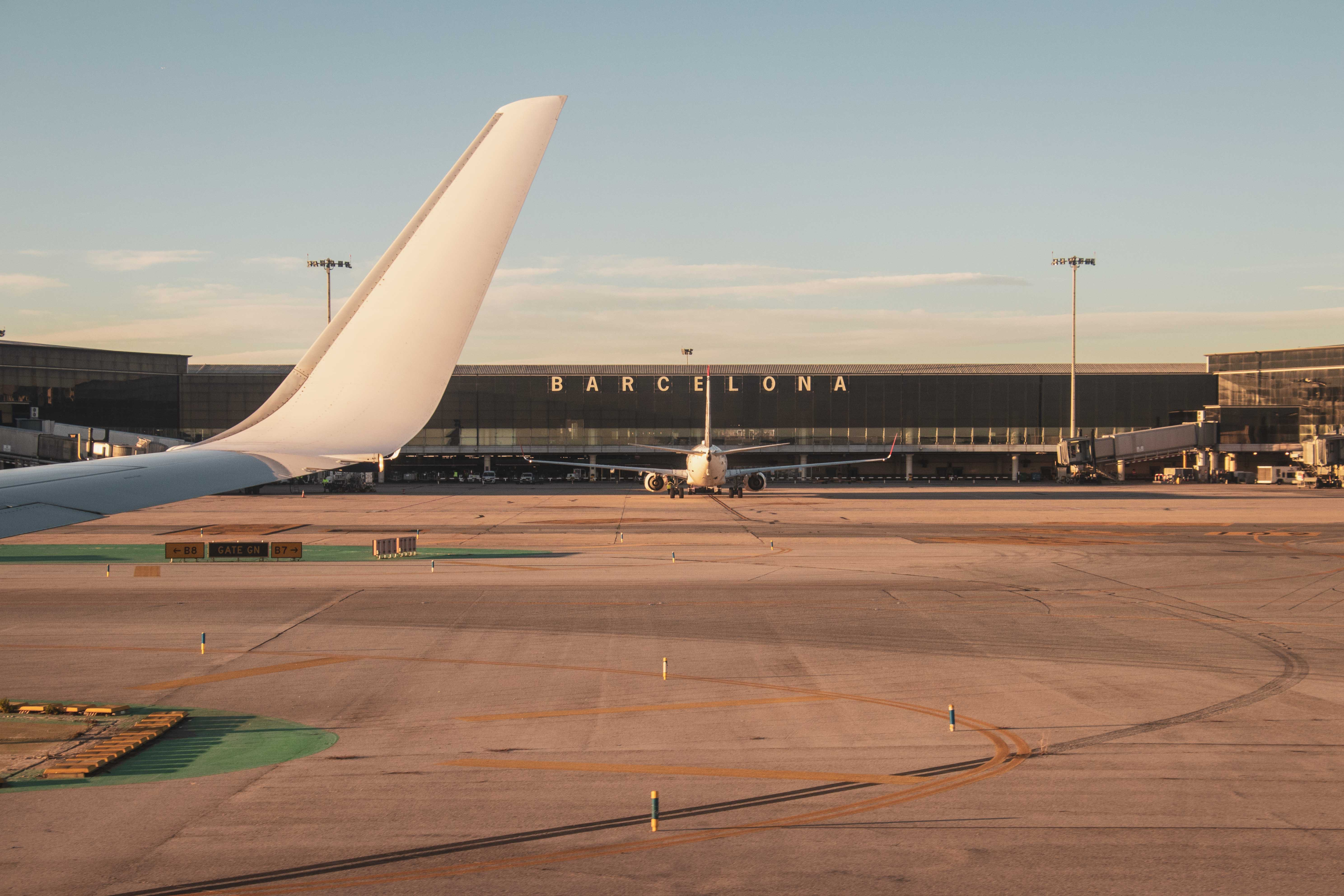 airplane in Barcelona airport