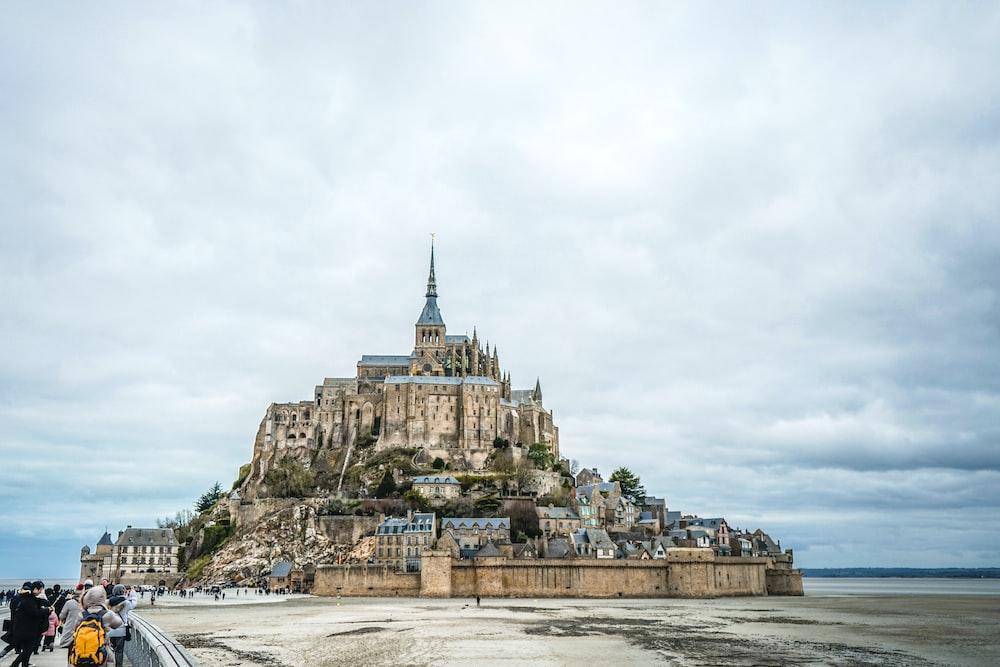 people near castle