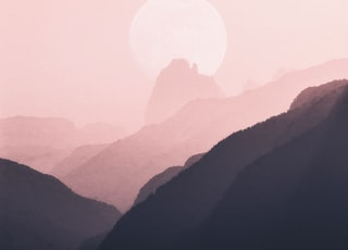 moon near mountain ridge
