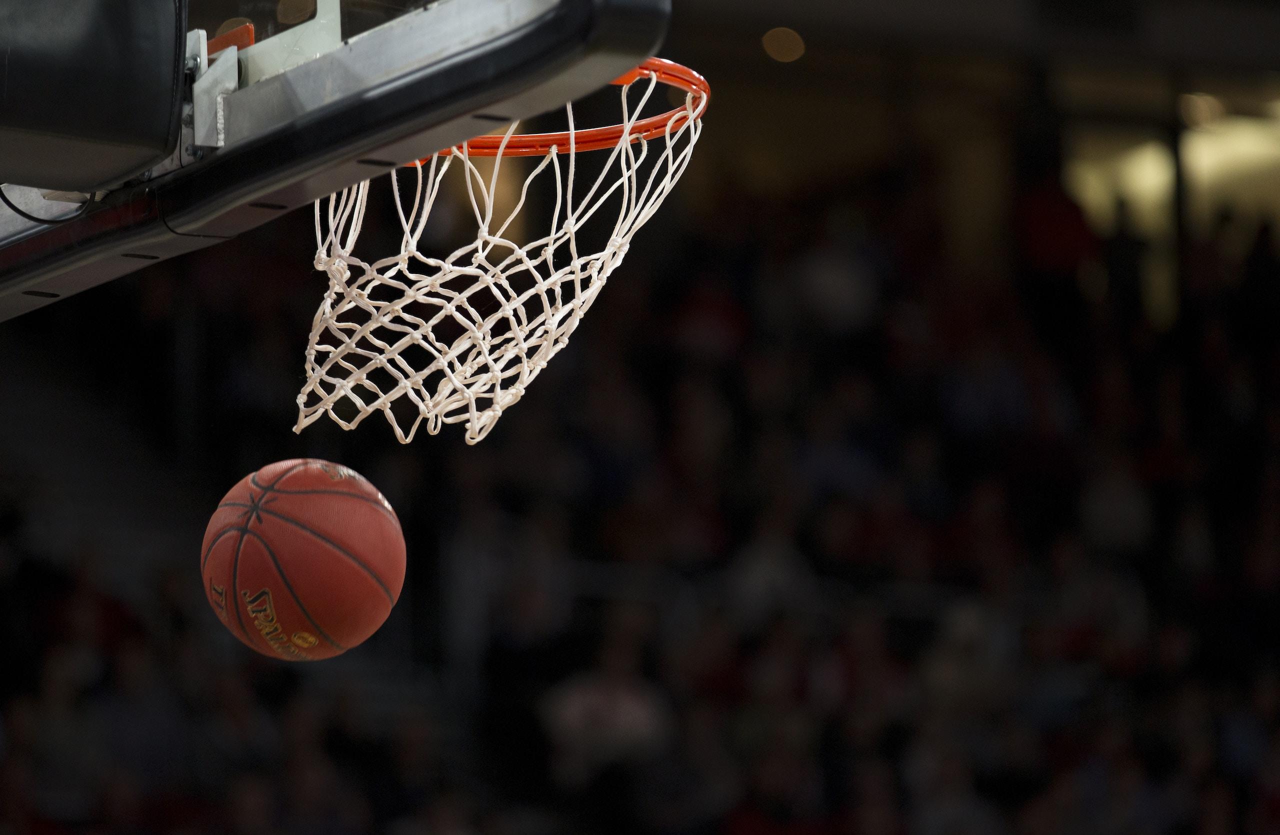Irving, ball under basketball ring