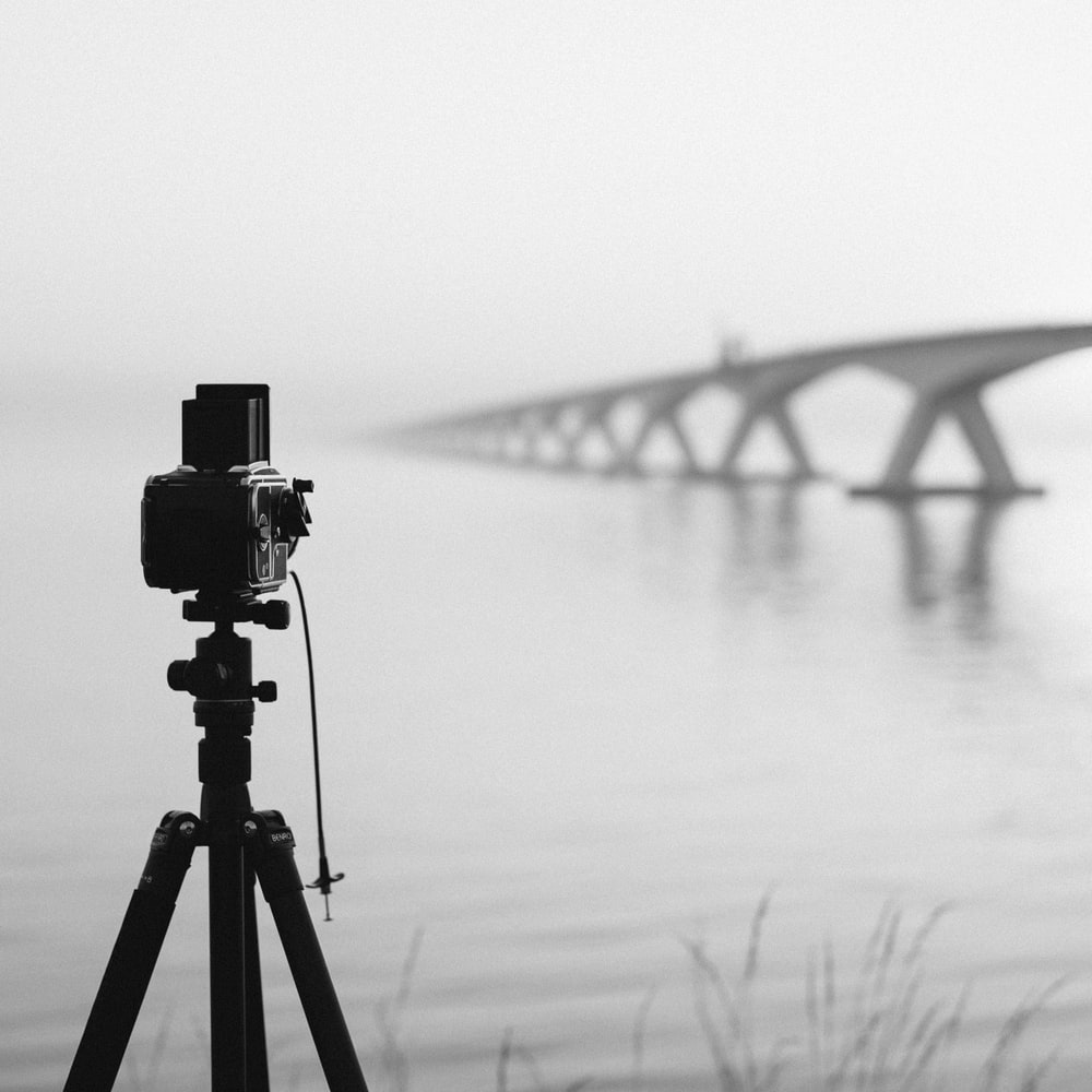 camera on tripod by body of water during foggy weather