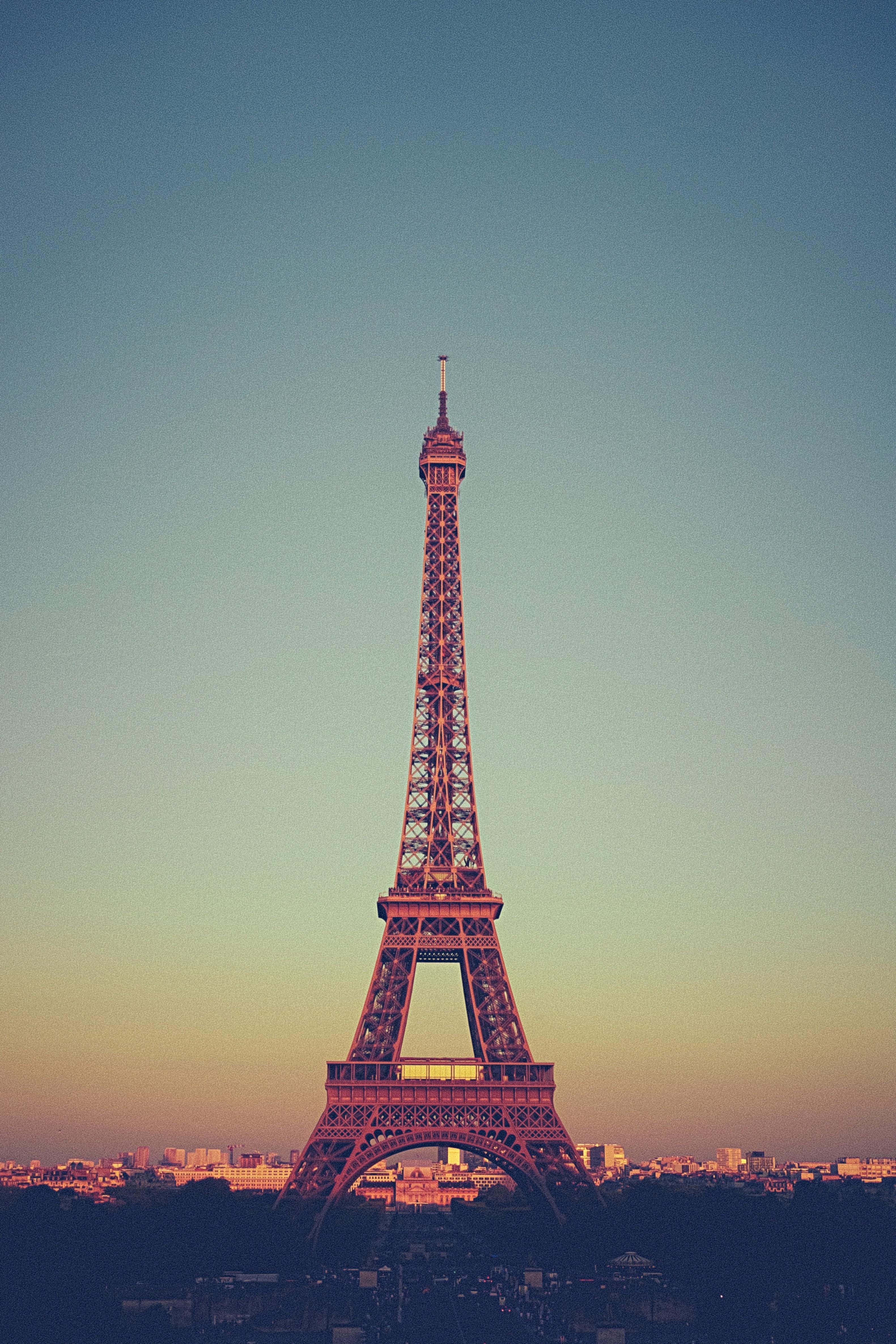 pink and purple Eiffel tower miniature