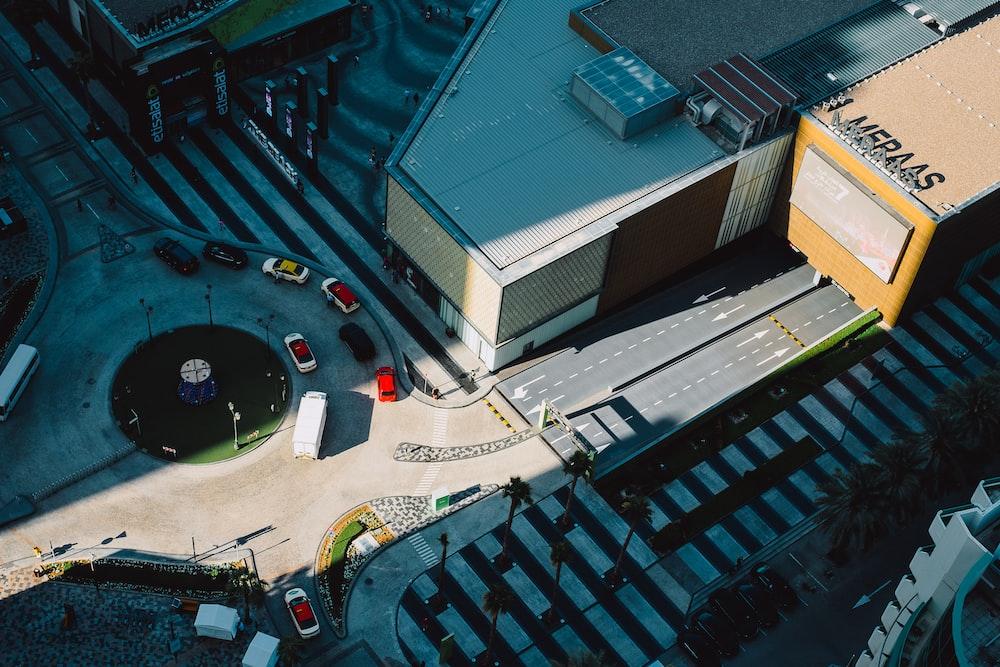 aerial photography of cars on rotunda