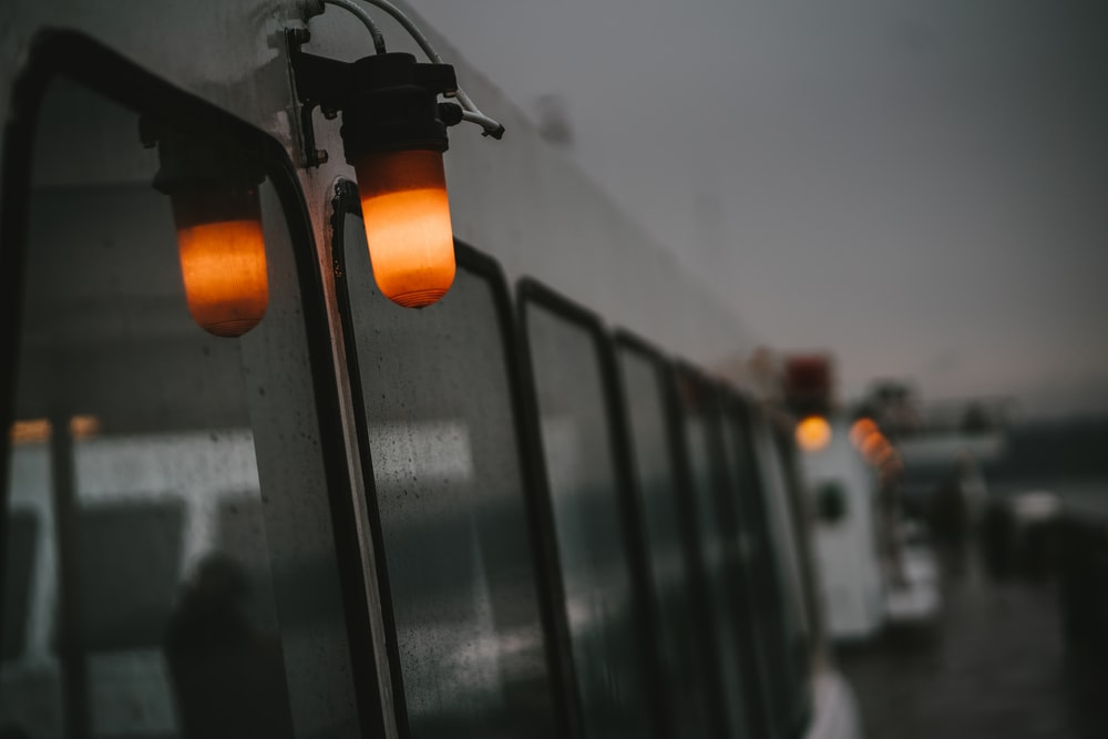 white train side lights