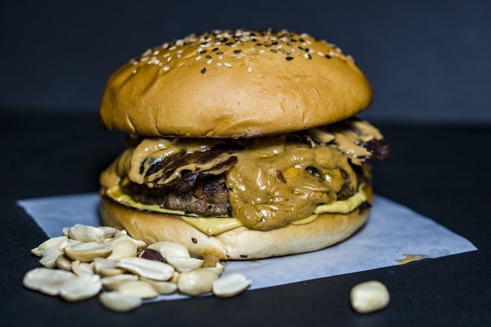 hamburger with grilled meat
